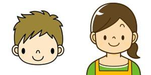 中学生の男の子とお母さんが笑顔で並んでいるアイコン