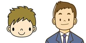 小学生の男の子とお父さんが笑顔で並んでいるアイコン