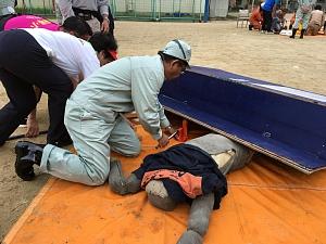 西船場連合の防災訓練2018(西船場小学校にて)救出