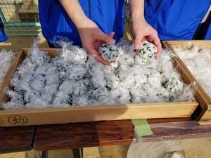 大阪・西船場地域の防災訓練で炊出したアルファ化米(西船場小学校にて)